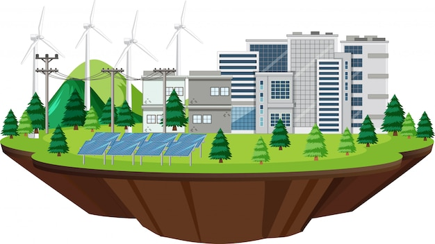 Scène avec des bâtiments avec des turbines et des cellules solaires