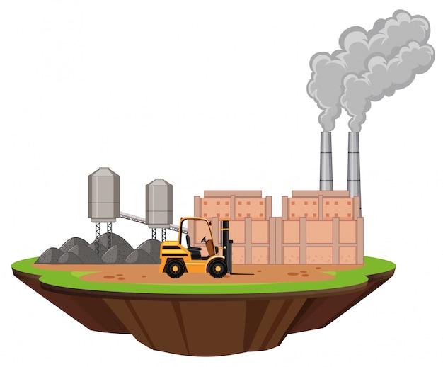 Scène avec bâtiments d'usine et chariot élévateur