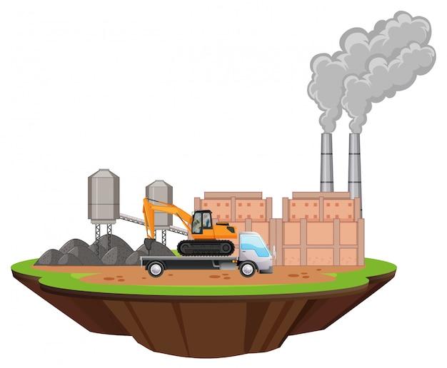 Scène avec bâtiments d'usine et forage sur le site