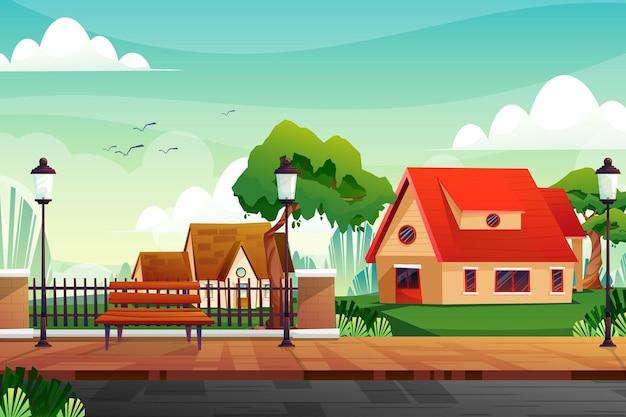 Scène beau paysage naturel avec maisons et rue avec arbres verts et ciel bleu.