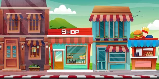 Scène de beau paysage urbain avec immeuble de grande hauteur, boutique et rue avec parc