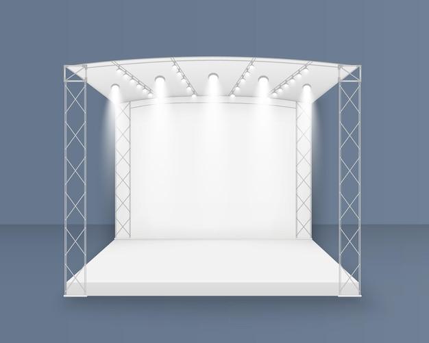 Scène blanche 3d, scène de concert sur podium, divertissement de spectacle de performance, toile de fond avec écran led, projecteurs