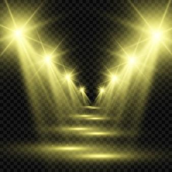 Scène blanche avec projecteurs. illustration d'une lumière avec des étincelles sur un fond transparent.