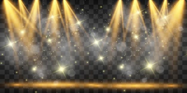 Scène blanche avec des projecteurs. illustration.mesure d'action.