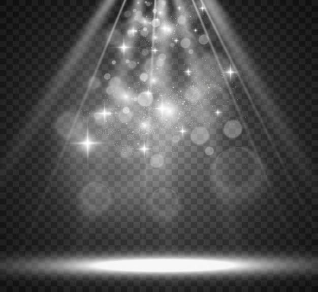 Scène blanche avec des projecteurs illustration vectorielle