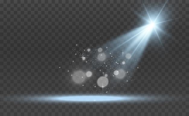 Scène blanche avec des projecteurs. illustration.