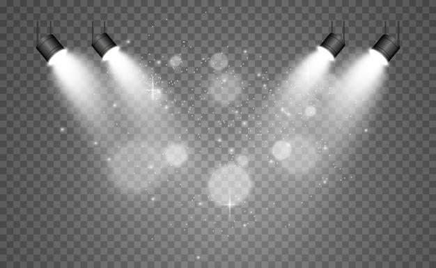 Scène blanche avec des projecteurs.
