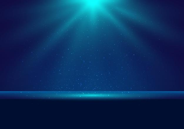Scène bleu foncé réaliste 3d avec éclairage illuminé et arrière-plan de scène de poussière pour la cérémonie de remise des prix, le concert, la présentation du lieu du gagnant. illustration vectorielle