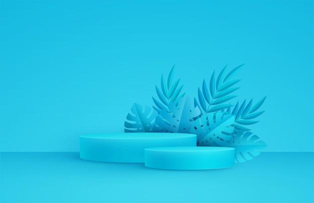 Scène bleue minimale avec plate-forme ronde et feuilles de palmier