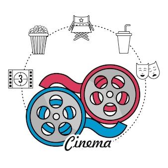 Scène de bobine et bande de film avec des icônes de court métrage