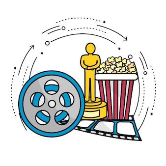 Scène de bobine avec prix, pop-corn et bande de film