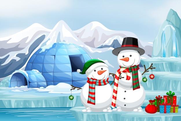 Scène avec bonhomme de neige et igloo