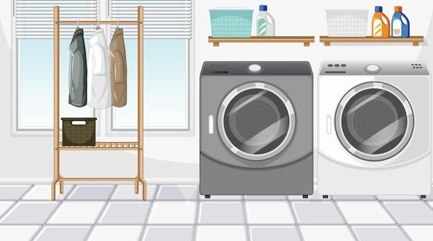 Scène de buanderie avec lave-linge et cintre