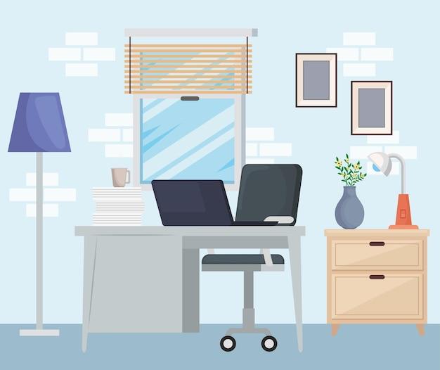 Scène de bureau à domicile