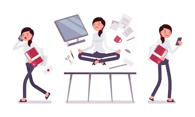 Scène de bureau avec occupé et détendu en commis de yoga