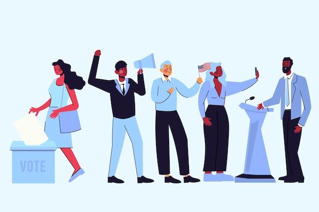 Scène de campagne électorale illustrée