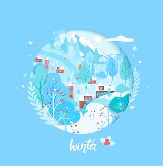 Scène de campagne de papier découpé de carte d'hiver