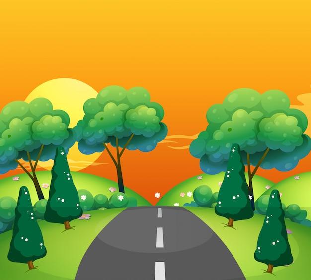 Scène de campagne avec route au coucher du soleil