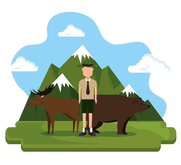Scène canadienne de grizzli et d'orignal
