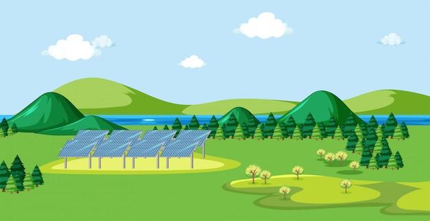 Scène avec cellule solaire sur le terrain