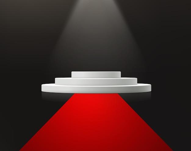 Scène de cérémonie de remise des prix avec tapis rouge.