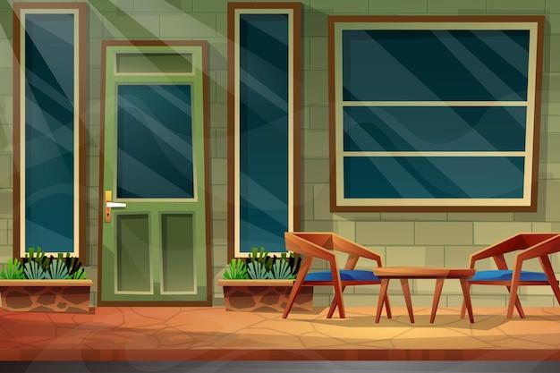 Scène de chaise avec table devant la maison près de la fenêtre et de la porte
