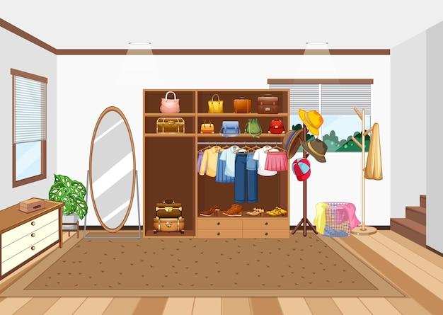 Scène de chambre avec placard et accessoires pour enfants