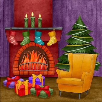 Scène de cheminée de noël aquarelle