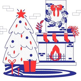 Scène de cheminée de noël dessiné à la main