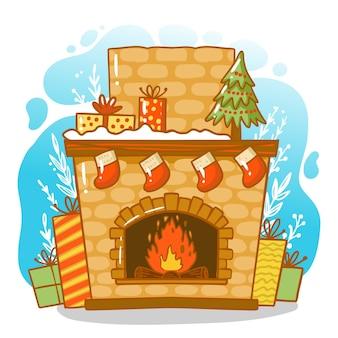 Scène de cheminée de noël dessinée à la main