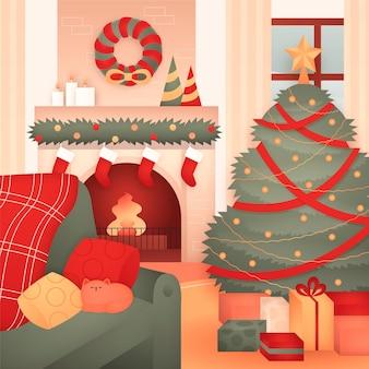Scène De Cheminée De Noël Dessinée à La Main Vecteur gratuit