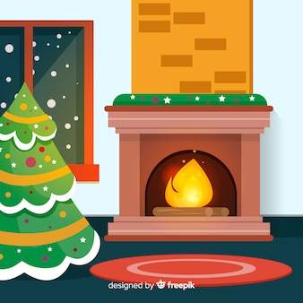 Scène de cheminée de noël