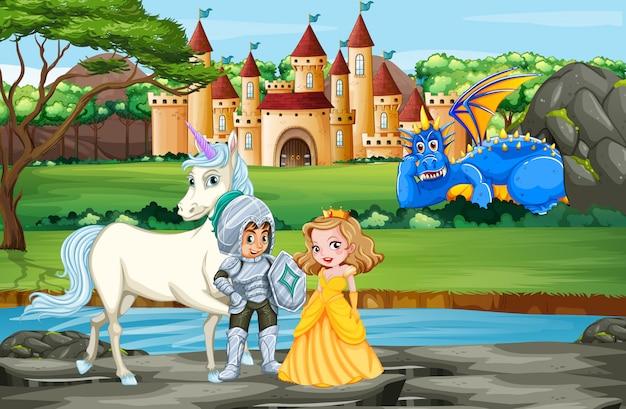 Scène avec chevalier et princesse par le palais