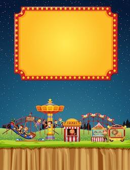 Scène de cirque avec modèle de signe dans le ciel