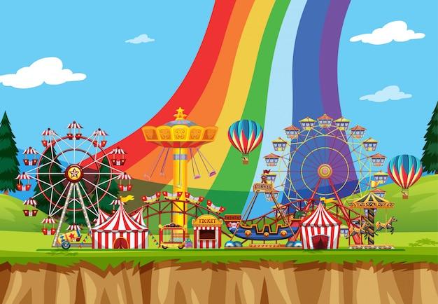 Scène de cirque avec de nombreux manèges pendant la journée