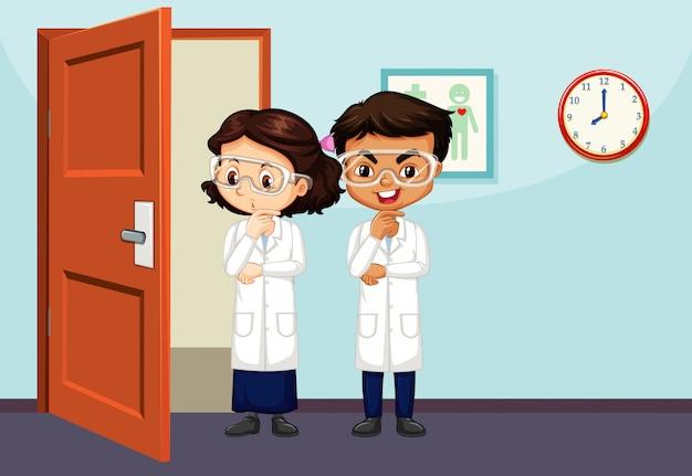 Scène en classe avec deux étudiants en sciences à l'intérieur