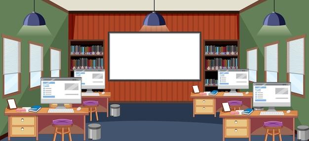 Scène de classe avec de nombreux ordinateurs sur des bureaux