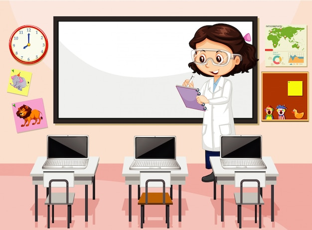 Scène en classe avec professeur debout près du conseil d'administration