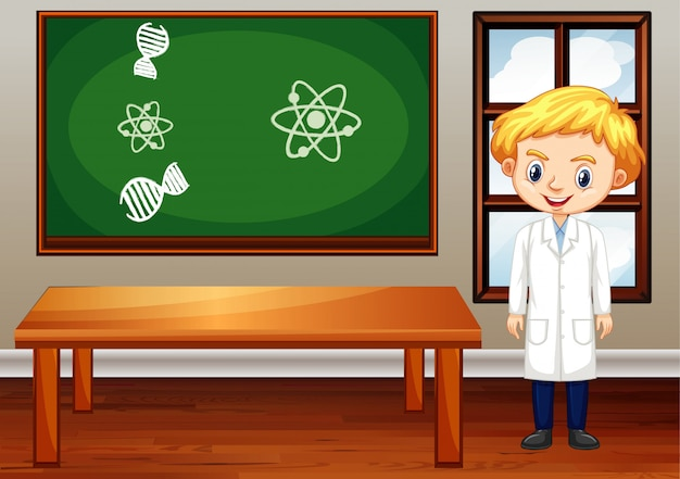 Scène en classe avec professeur de sciences à l'intérieur