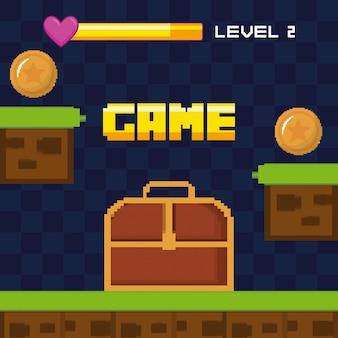 Scène classique de jeu vidéo avec coffre au trésor