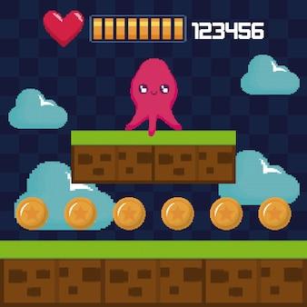 Scène classique de jeu vidéo avec un personnage mutant de pieuvre