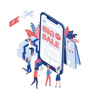 Scène avec des clients ou des acheteurs joyeux debout devant un smartphone géant avec un texte de grande vente à l'écran.