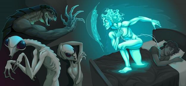 Scène de combat entre mon corps astral et les extraterrestres illustration vectorielle