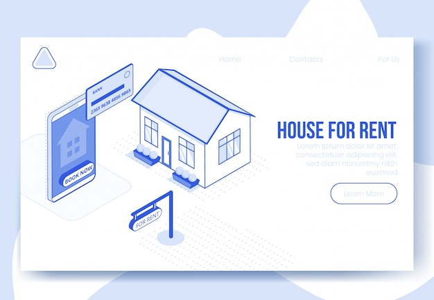 Scène de concept de conception isométrique numérique du loyer de la maison