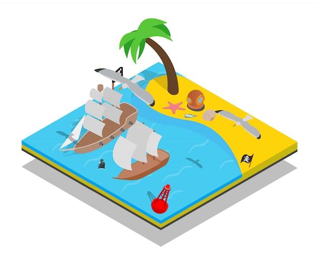 Scène de concept de plage de pirate