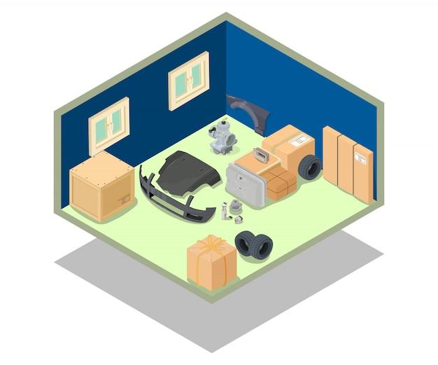Scène de concept de zone de stockage