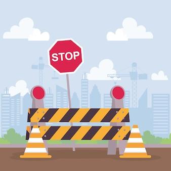 Scène de construction avec barricade et conception d'illustration vectorielle de signal d'arrêt
