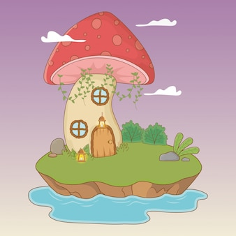 Scène de conte de fées avec des champignons