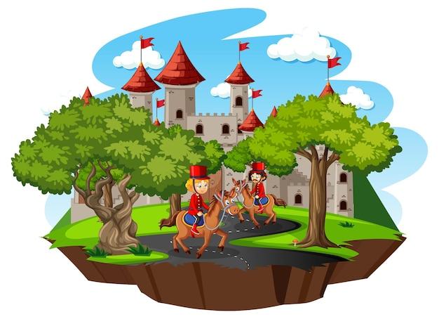 Scène de conte de fées avec château et garde royale de soldat