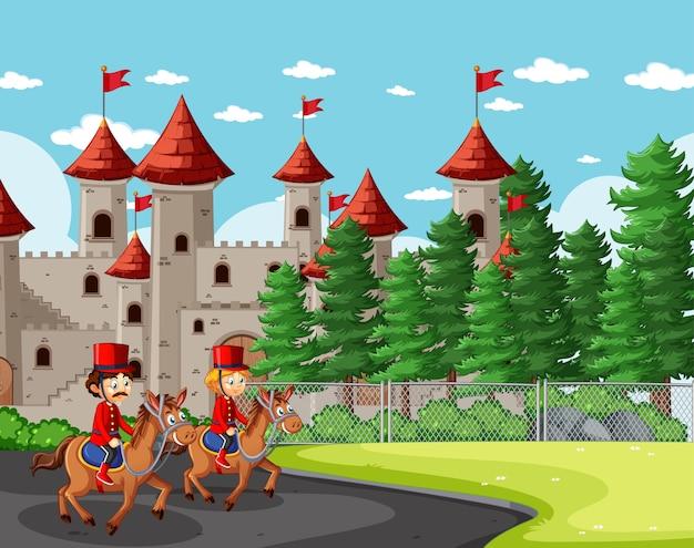 Scène de conte de fées avec château et scène de la garde royale de soldat